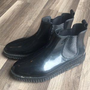 Michael Kors rubber embellished rain black boots